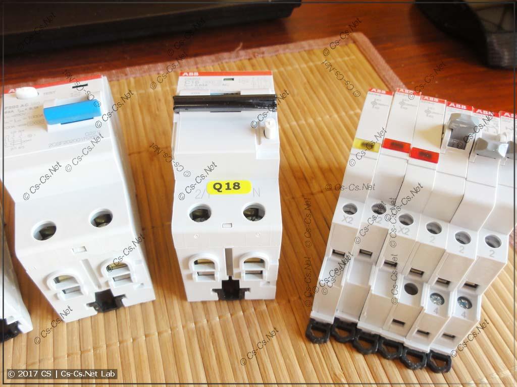 УЗО, Дифавтомат и лампочки и переключатели от ABB