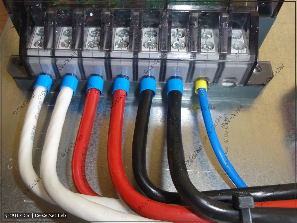 Фазные провода к счётчику и провод нуля