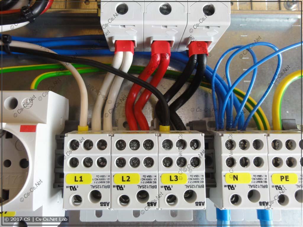 Подключение блоков BRU125 к автомату S800 обратной стороной