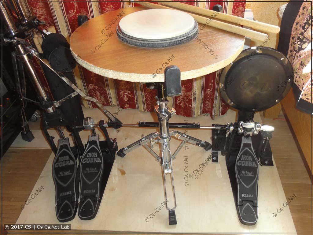 Домашний тренировочный набор: пэд барабана, бочки, хэт и кардан