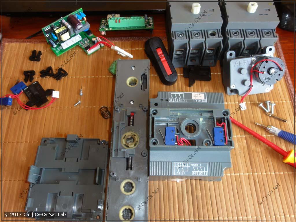 Внутреннее устройство рубильника с мотором ABB OTM40CMA230