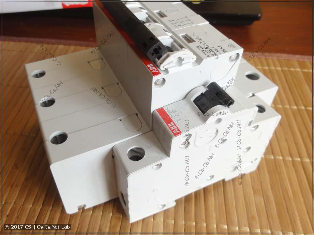 Селективный автомат ABB S750 DR и обычная модулька
