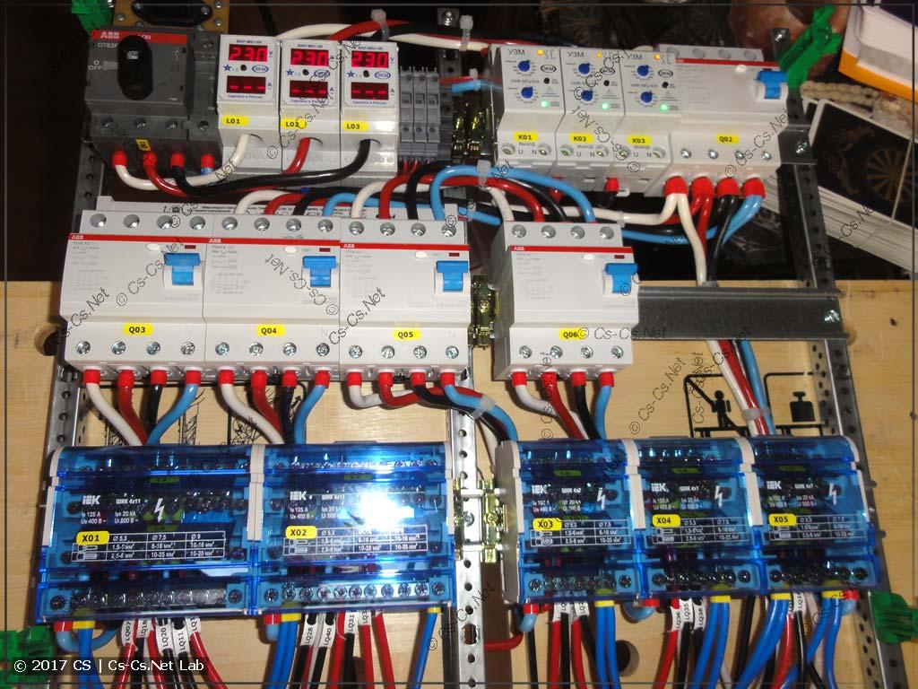Часть ввода сети щита: монтаж ВАР, УЗМ-51м и кросс-модулей
