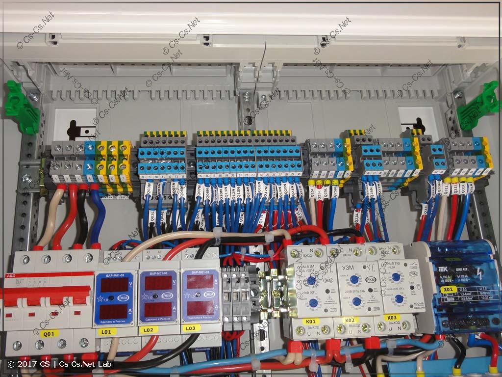 Клеммы для подключения отходящих кабелей к щиту