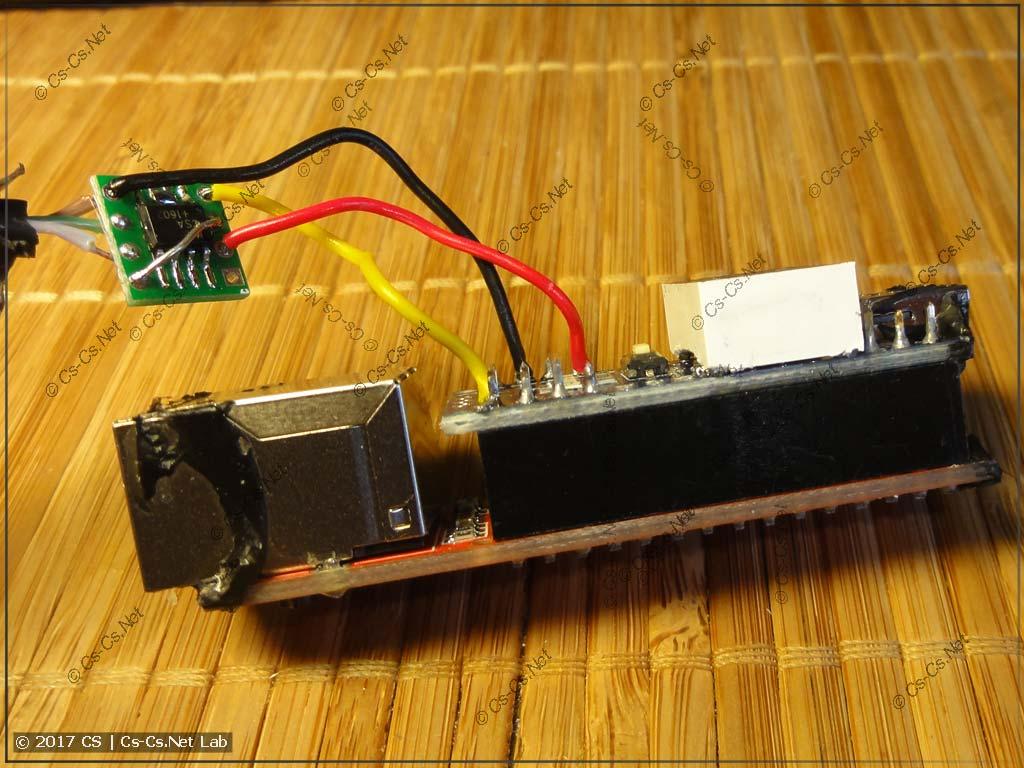 Внутреннее устройство SmartShow NetDMX II: там стоит Arduino Nano