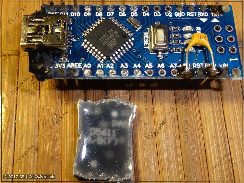 Снимаем LED-индикатор и ещё раз убеждаемся в том, что работаем с Arduino Nano