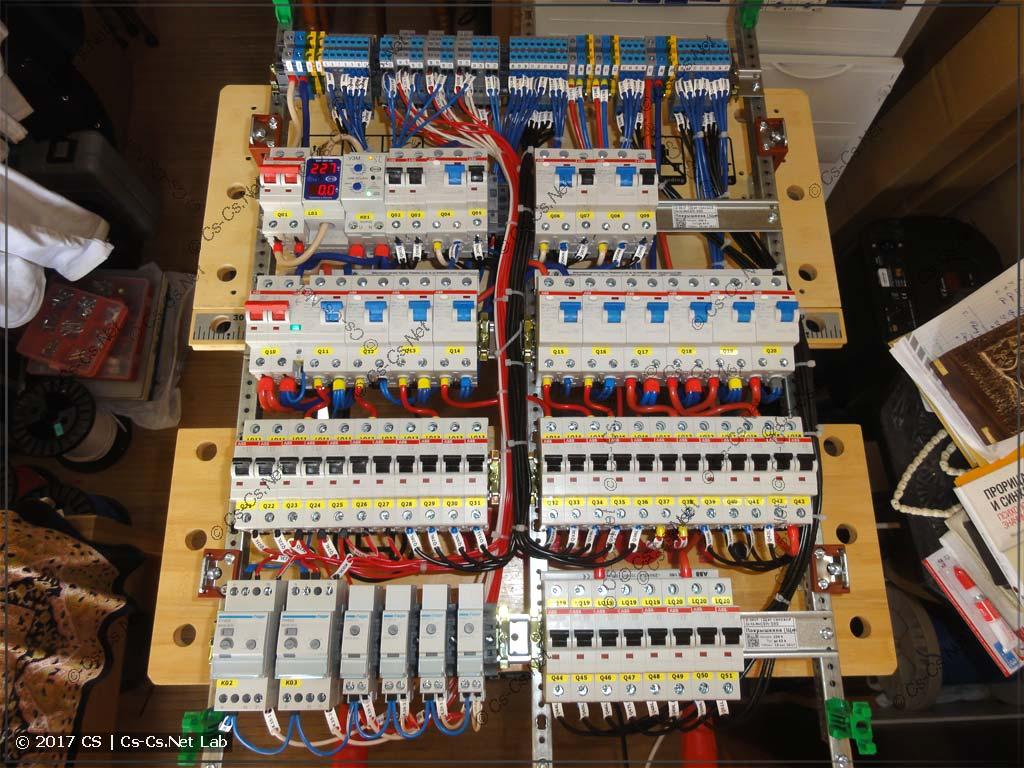 Внутренняя начинка щита: автоматы и клеммы на EDF-профилях
