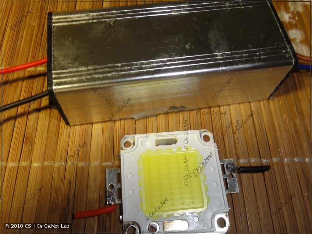 Разобрали прожектор и вытащили светодиод и драйвер
