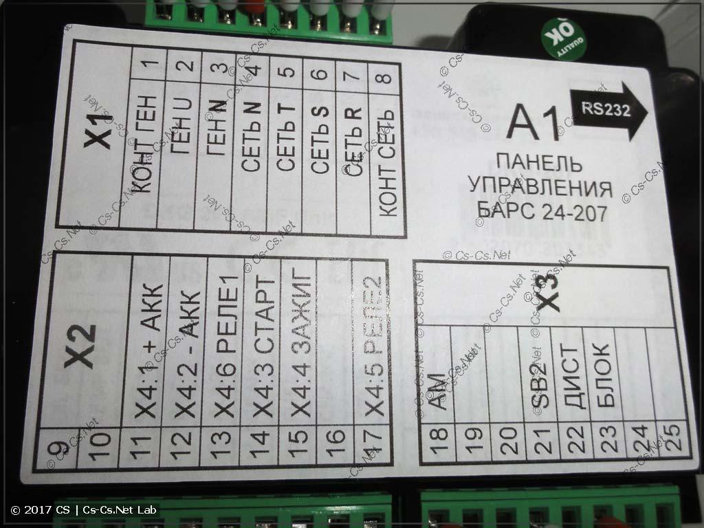 Задняя панель контроллера БАРС для бензиновых АВР