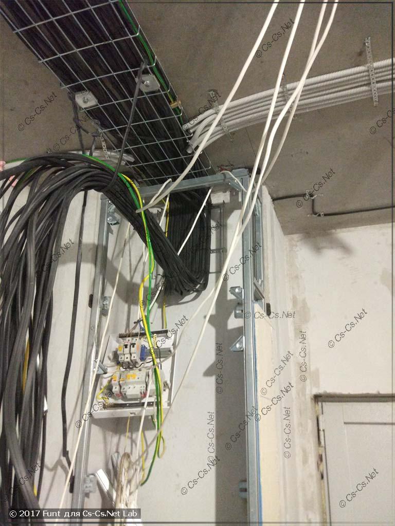 Подводка кабелей к месту для силового щита