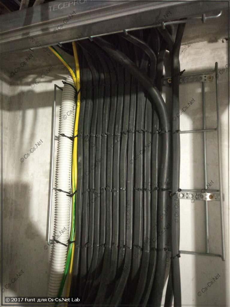 Подводка кабелей к месту для силового щита (красиво уложены)