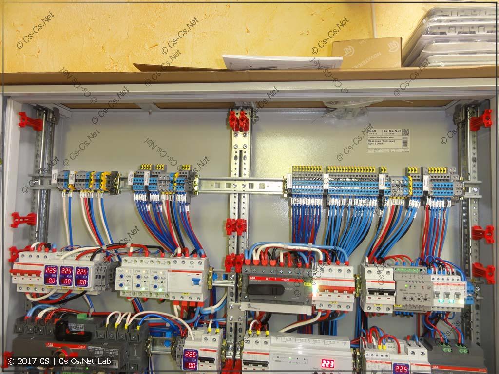 Клеммы для того, чтобы подключать все отходящие линии и запас места для кабелей