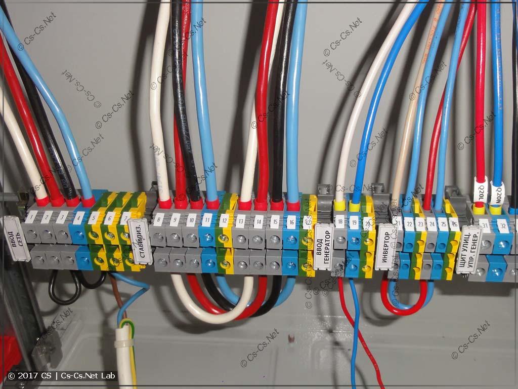 Клеммы ввода сети, генератора, стабилизаторов. Тоже подписаны