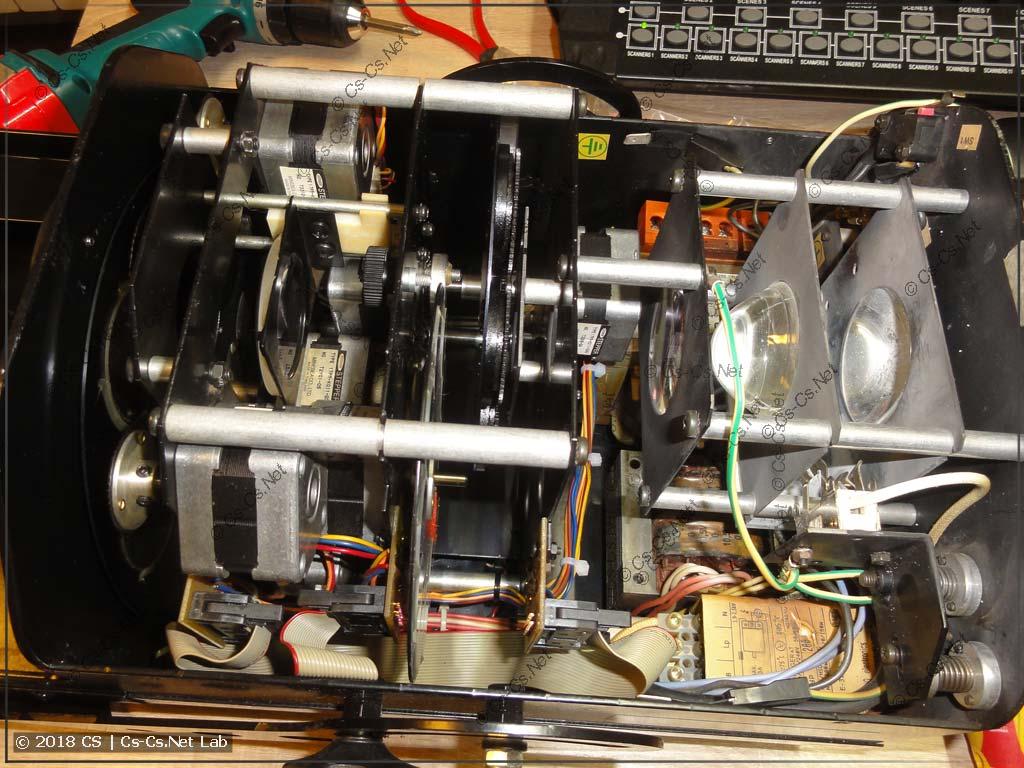 Внутренности сканера Robe Scan 250 XT