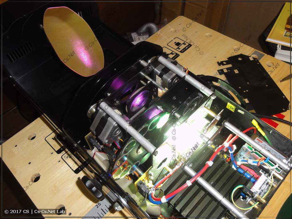 Сканер ROBE Scan 250XT, переделанный на светодиод (изнутри)