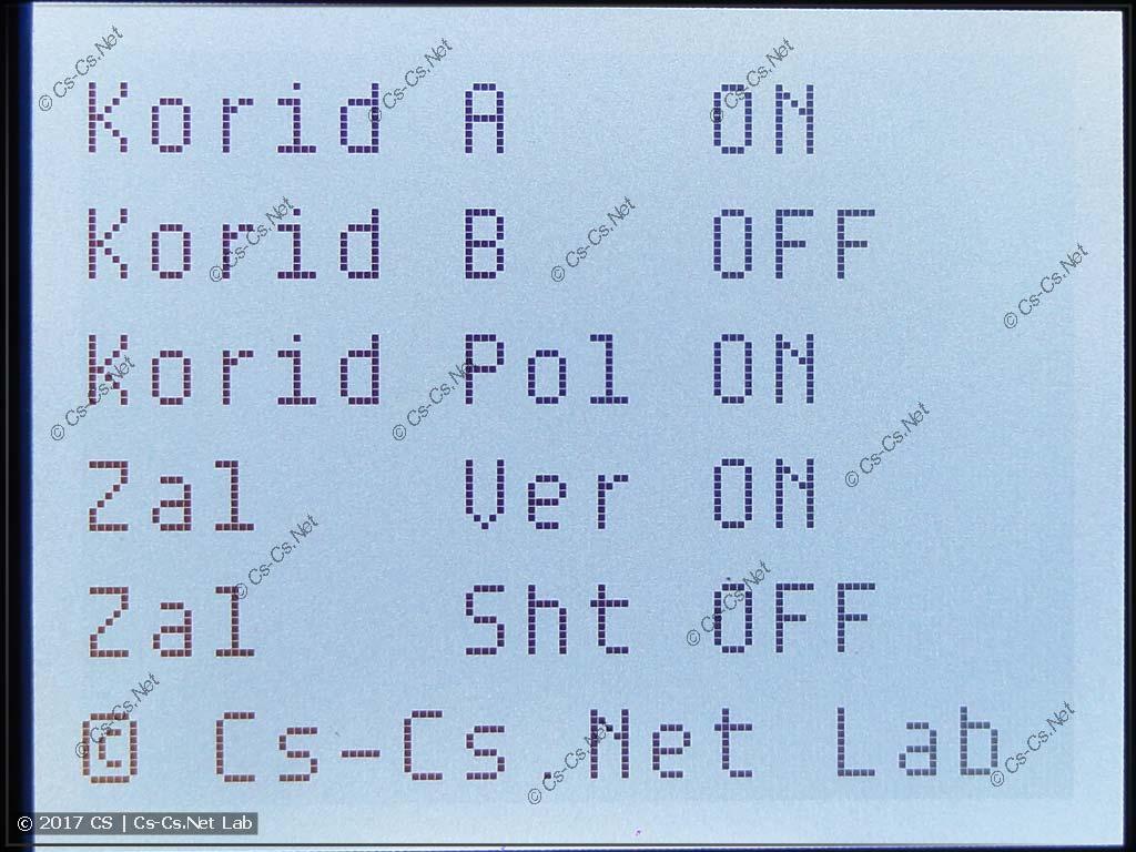 Пример текстового сообщения на дисплее Logo (свет)
