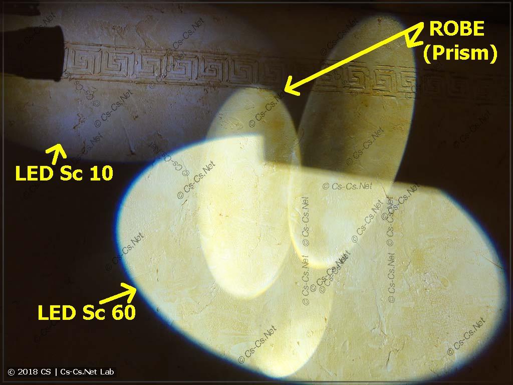 Сравнение света от трёх сканеров (с призмой)