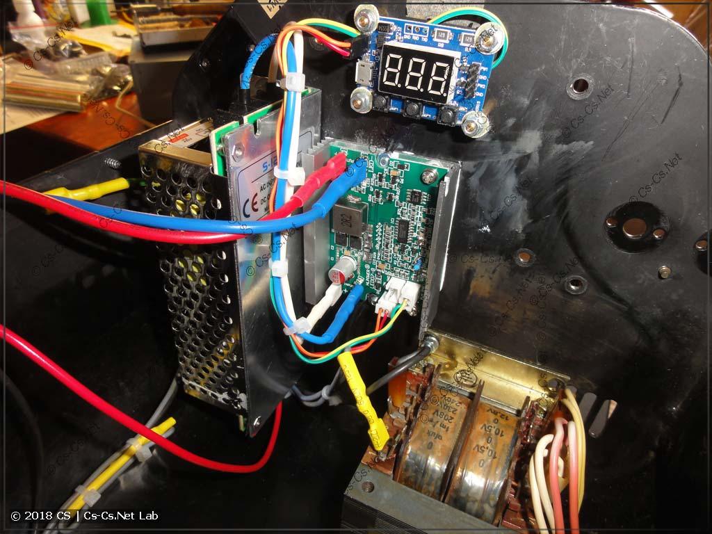 Все компоненты для питания светодиода SSD-90 готовы и закреплены на корпусе