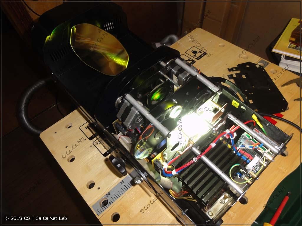 Сканер, переделанный на светодиод, в работе - тестируем