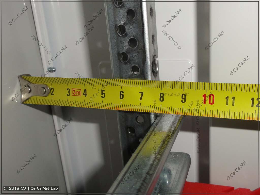 Размеры пространства от задней стенки щита ABB B до EDF-профиля и DIN-рейки