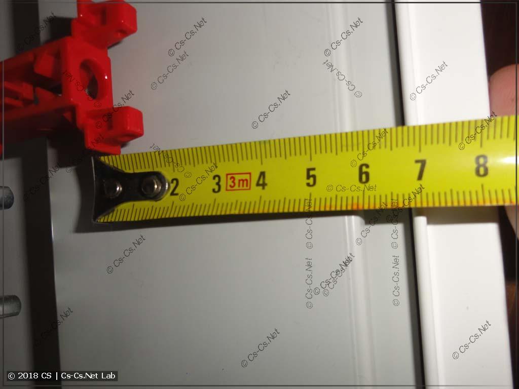 Размеры пространства стоек пластрона стенки щита ABB B до переднего края