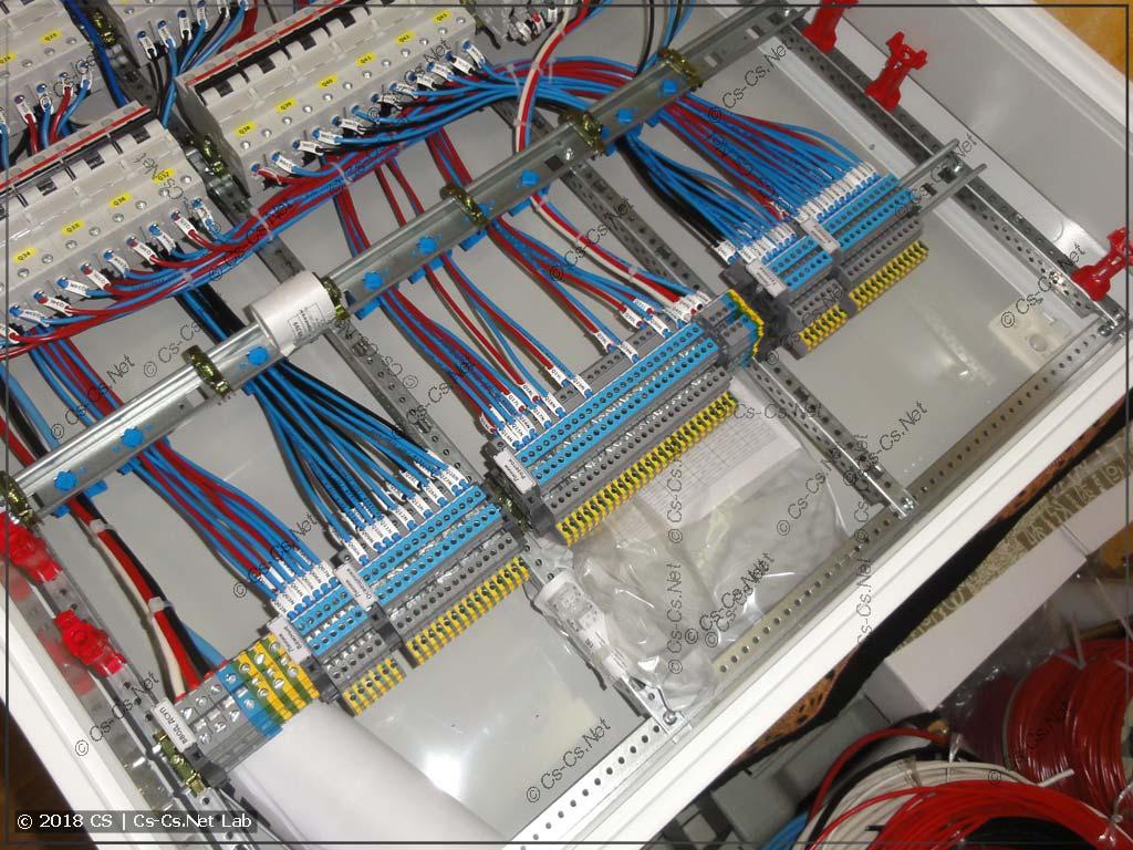 Пространство внутри корпуса для кабелея около клемм