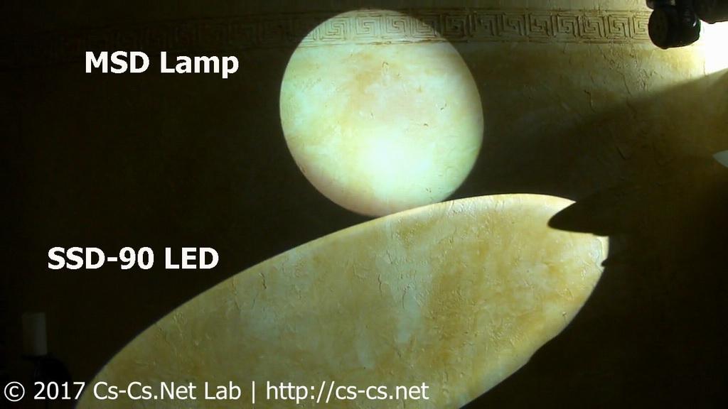 Сравнение переделки санера ROBE Scan 250 XT на LED с MSD-лампой (свет на стене)