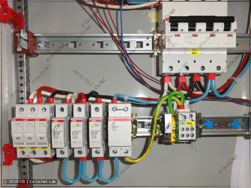 Обвязка УЗИП в щите для системы ТТ: провода до УЗИП и после УЗИП не пересекаются