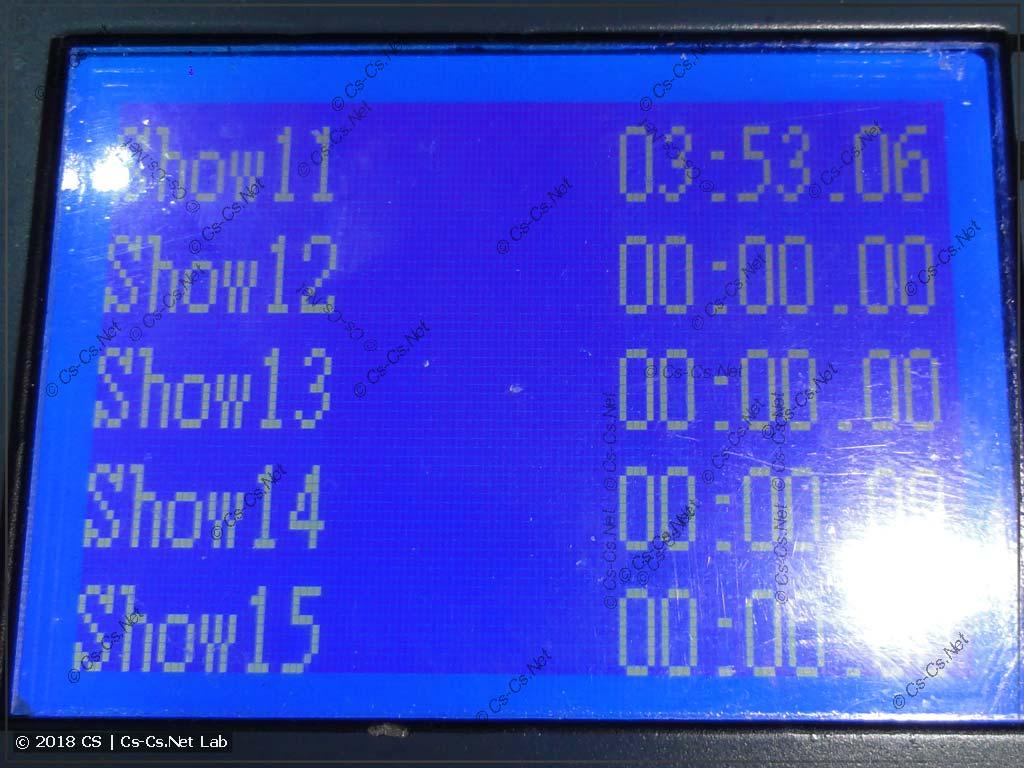 Список шоу (макросов) пульта King Kong 1024s
