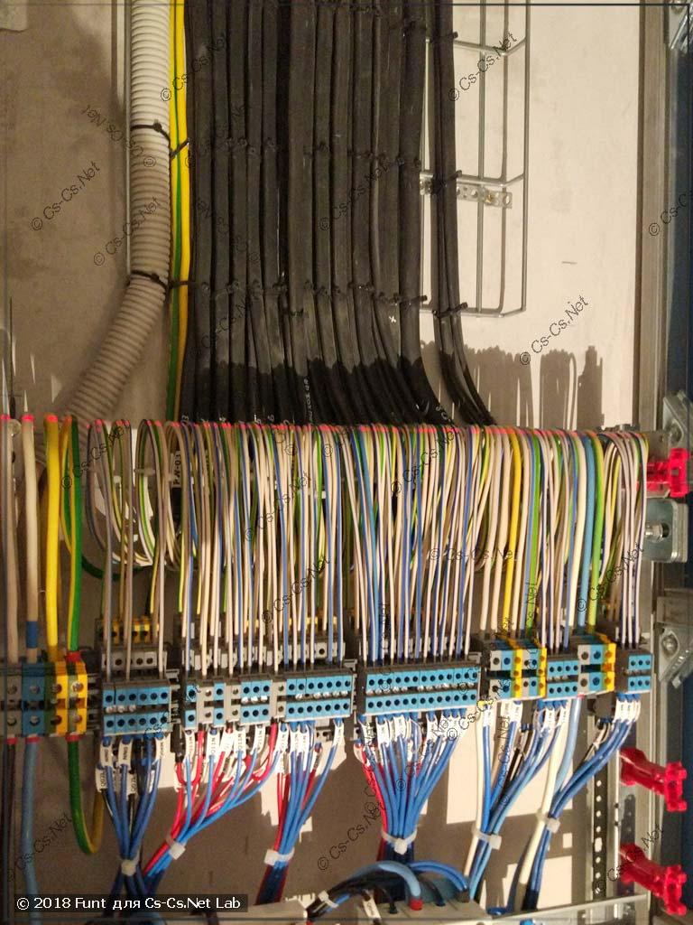 Провода ради прикола сложены петлями и выровнены по лазерному уровню