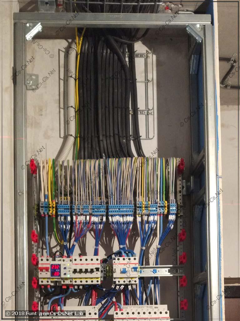 Все кабели к щиту подключены полностью
