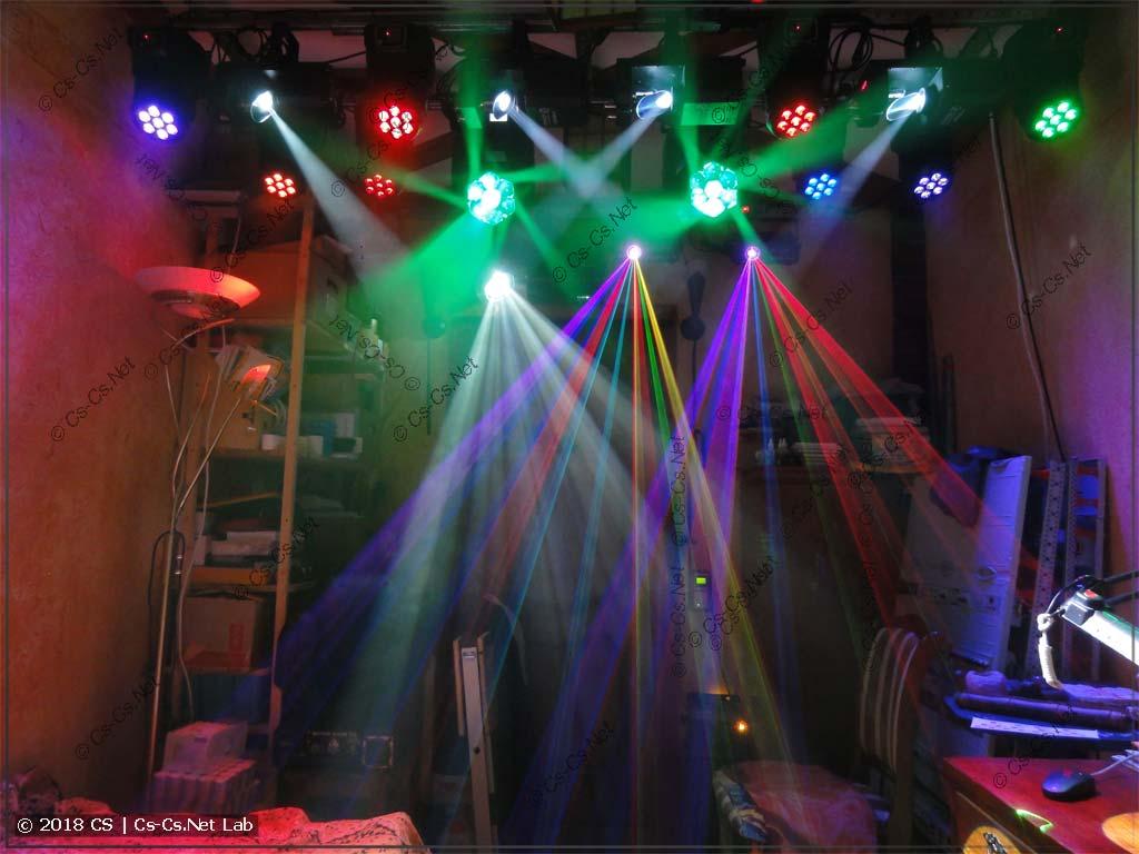 Моё оборудование для световых шоу в работе