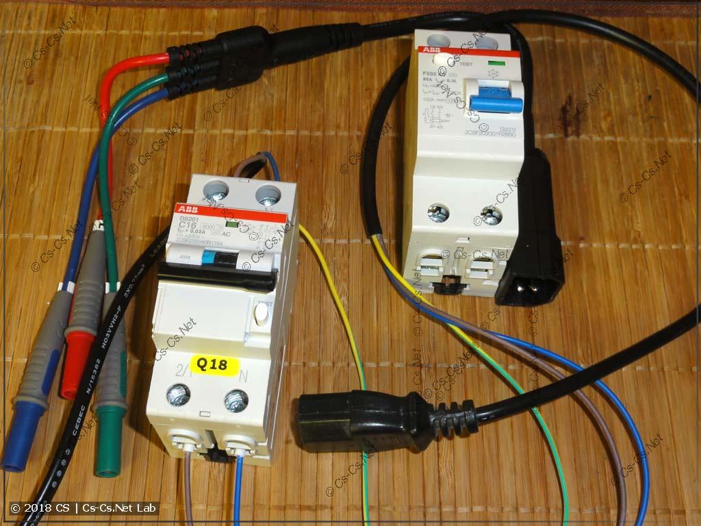 Схема для тестирования времени срабатывания дифавтомата при помощи прибора UT-526