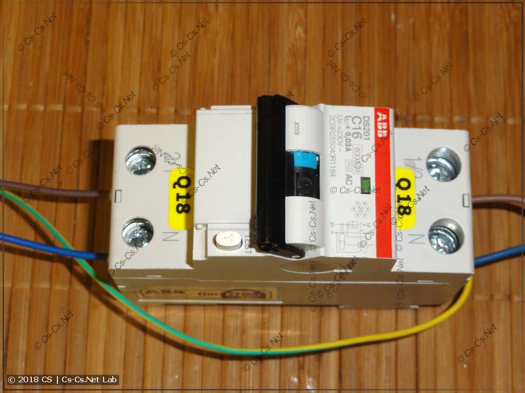 Обвязка дифавтомата (УЗО) для тестирования, чтобы создать контакт с PE