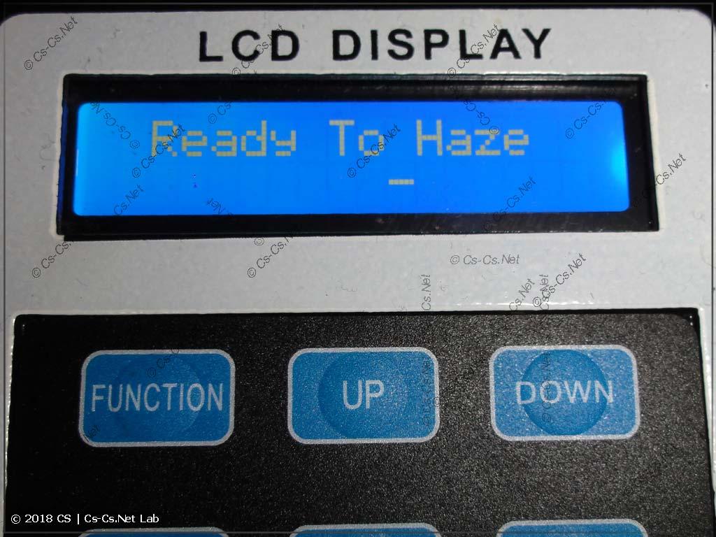 Информация на дисплее: система готова к работе