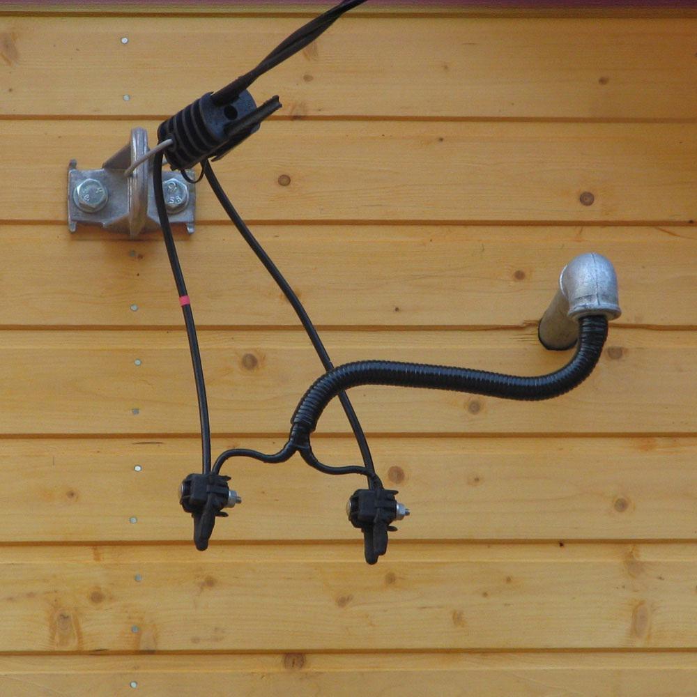 Пример перехода с СИПа на медный кабель через специальные сжимы
