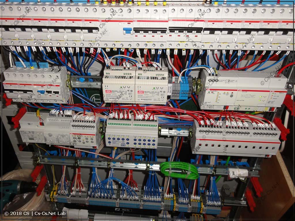 Часть щита с автоматикой KNX