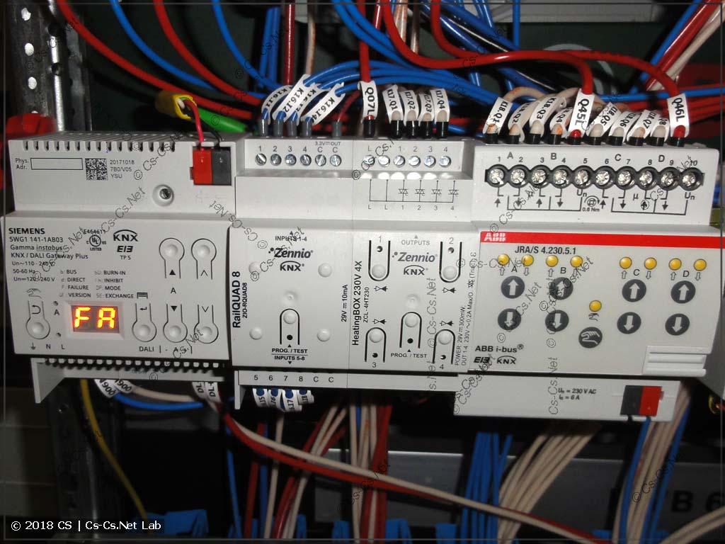 Шлюз из KNX в DALI и блоки термодатчиков, термоголовок и приводов штор
