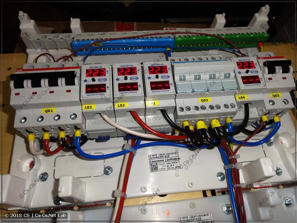 Часть ввода щита: сеть, генератор, переключатель
