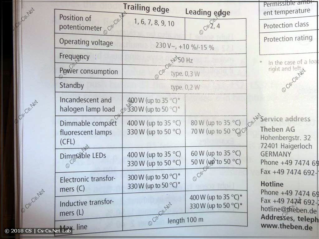 Технические характеристики диммера Theben DiMAX 534 Plus