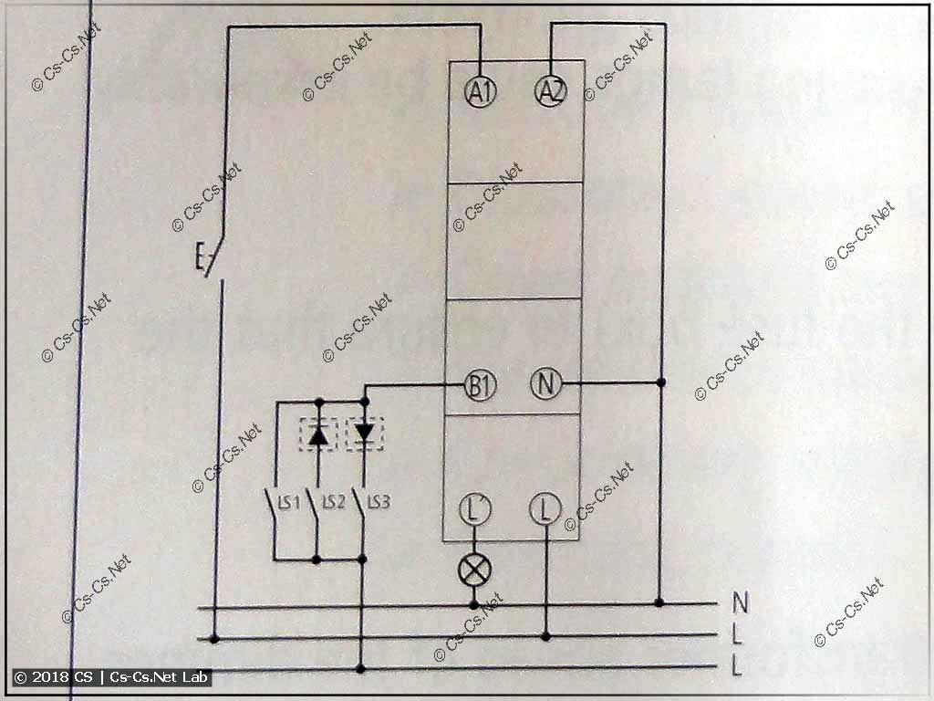 Схема подключения диммера Theben DiMAX 534 Plus (из инструкции)