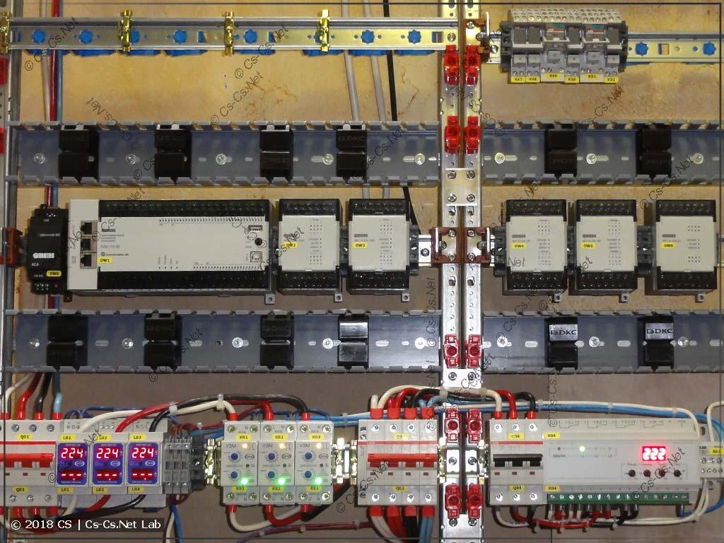 Размещение ПЛК в щите на системе ABB CombiLine и перфокороб вокруг ПЛК