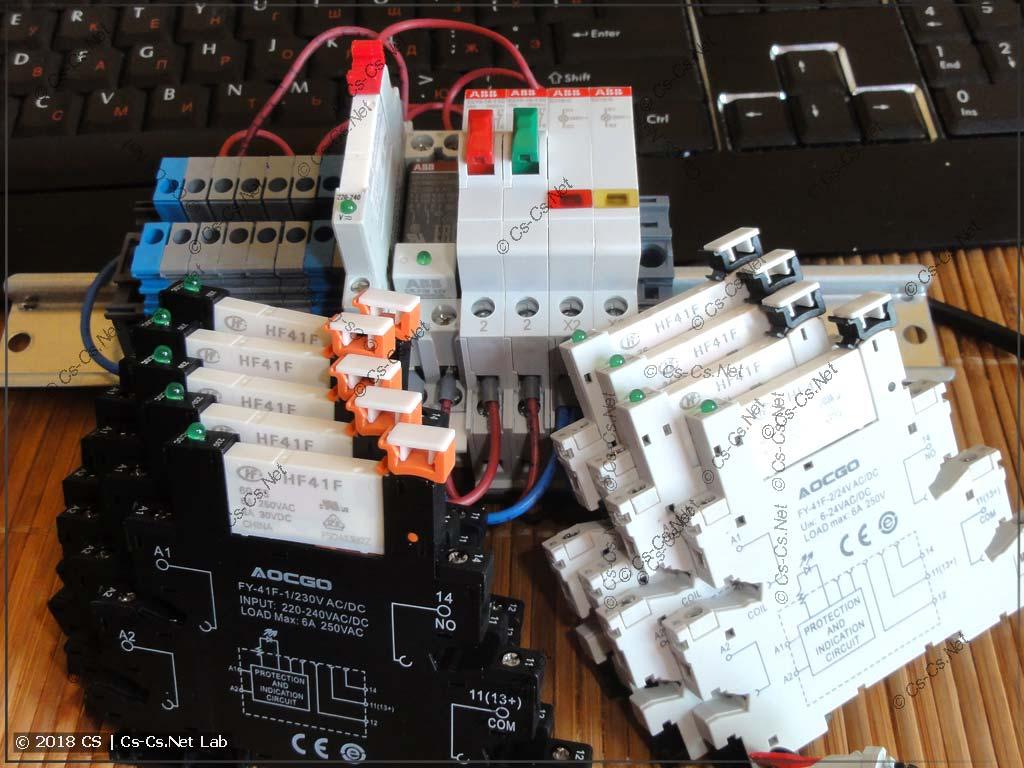 Тестовый стенд для проверки работы реле с кнопками с подсветкой на 230V