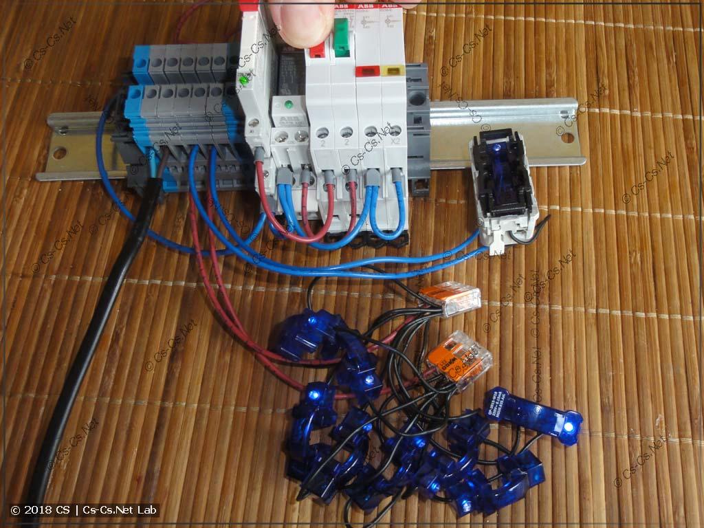 Тестируем 9 ламп с подсветкой и реле CR-S: всё работает (кнопка отпущена)