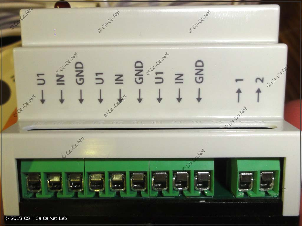 Контакты подключения датчиков (датчика) модуля Нептун