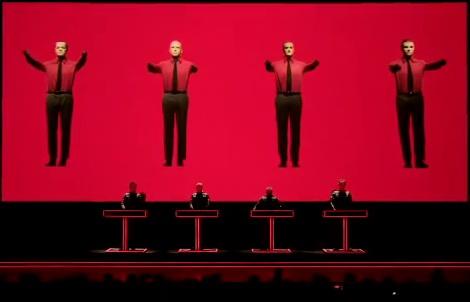 Фрагмент клипа Kraftwerk - Robots с видом на артистов