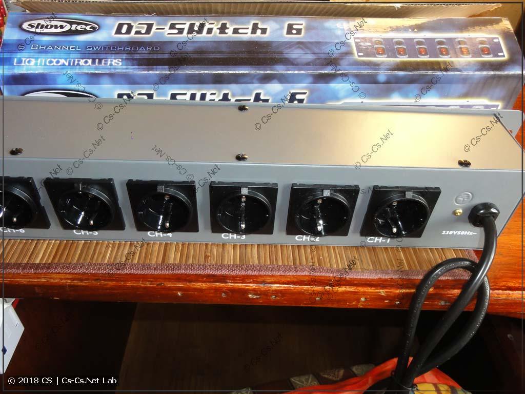 Панель питания ShowTec DJSwitch 6 (сторона розеток)