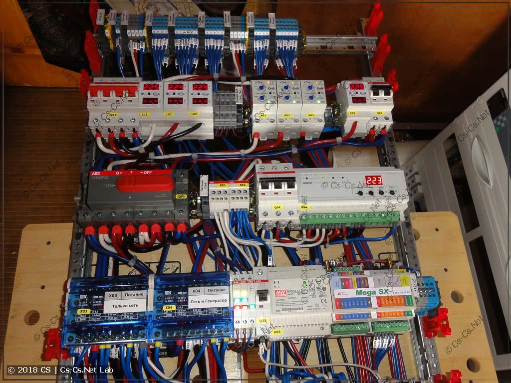 Часть ввода и управления питанием: сеть, генератор, ПЭФ-319 для питания важных нагрузок