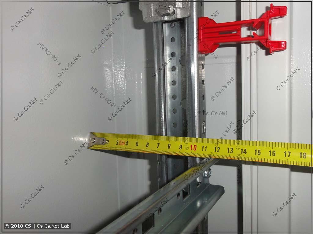 Расстояние от корпуса шкафа TwinLine-G до DIN-рейки MBG (модулька)