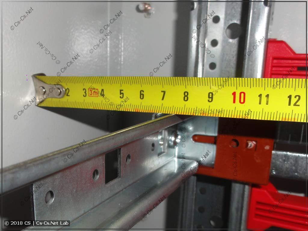 Расстояние от корпуса шкафа TwinLine-G до DIN-рейки MBK (клеммы)